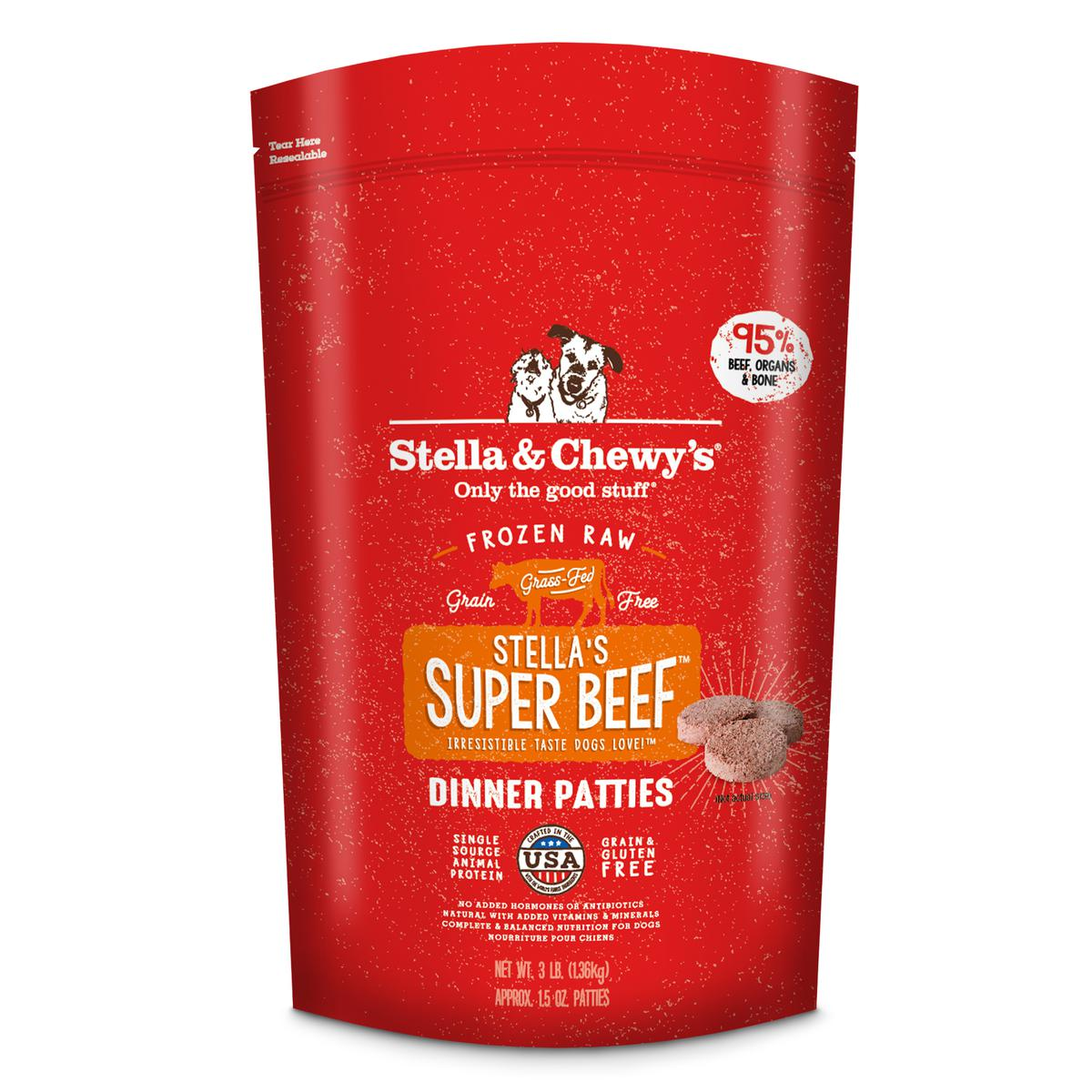 Stella & Chewy's Stella's Super Beef 1.5-oz Dinner Patties Grain-Free Raw Frozen Dog Food, 3-lb