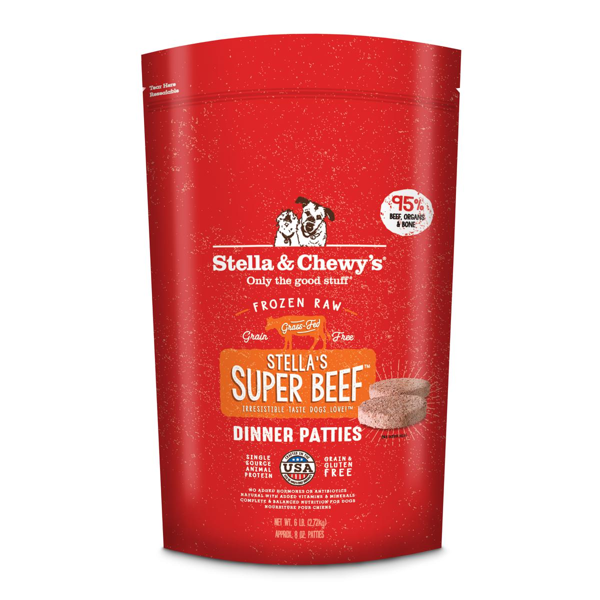 Stella & Chewy's Stella's Super Beef 8-oz Dinner Patties Grain-Free Raw Frozen Dog Food, 6-lb