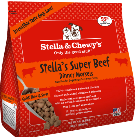 Stella & Chewy's Stella's Super Beef Dinner Morsels Grain-Free Raw Frozen Dog Food, 4-lb