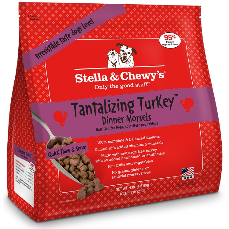 Stella & Chewy's Tantalizing Turkey Dinner Morsels Grain-Free Raw Frozen Dog Food, 4-lb