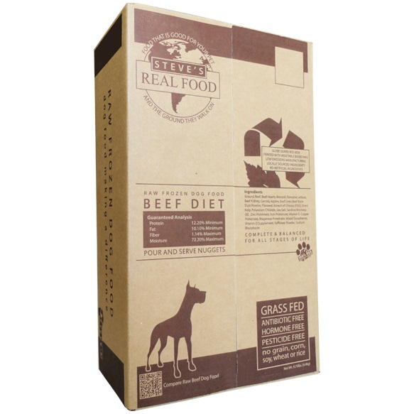 Steve's Real Food Beef Nuggets Raw Frozen Dog & Cat Food, 9.75-lb