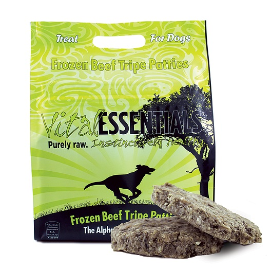 Vital Essentials Treats Grain-Free Beef Tripe Patties Raw Frozen Dog Treats, 6-lb