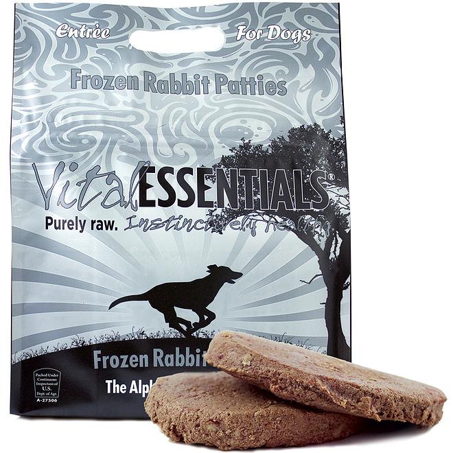Vital Essentials Grain-Free Rabbit 8z Patties Raw Frozen Dog Food, 6-lb