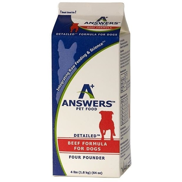 Answers Detailed Beef Formula Raw Frozen Dog Food, 4-lbs.
