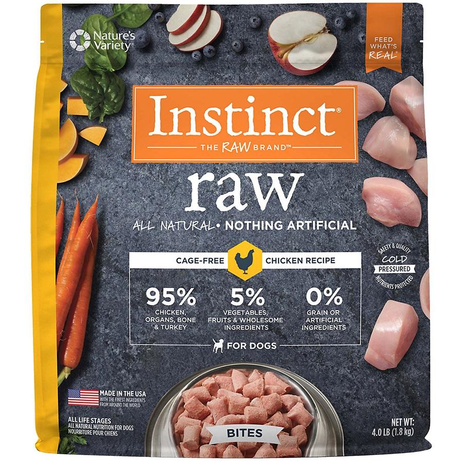 Nature's Variety Instinct Raw Grain-Free Chicken Bites Raw Frozen Dog Food, 4lbs