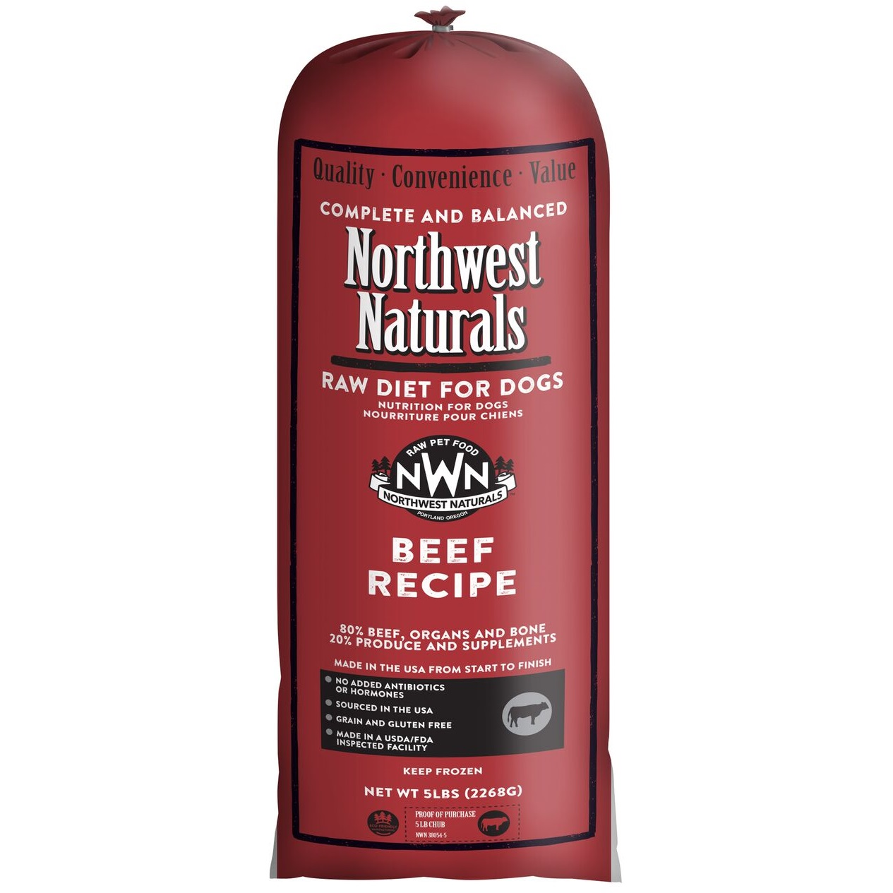 Northwest Naturals Raw Diet Grain-Free Beef Chub Roll Raw Frozen Dog Food