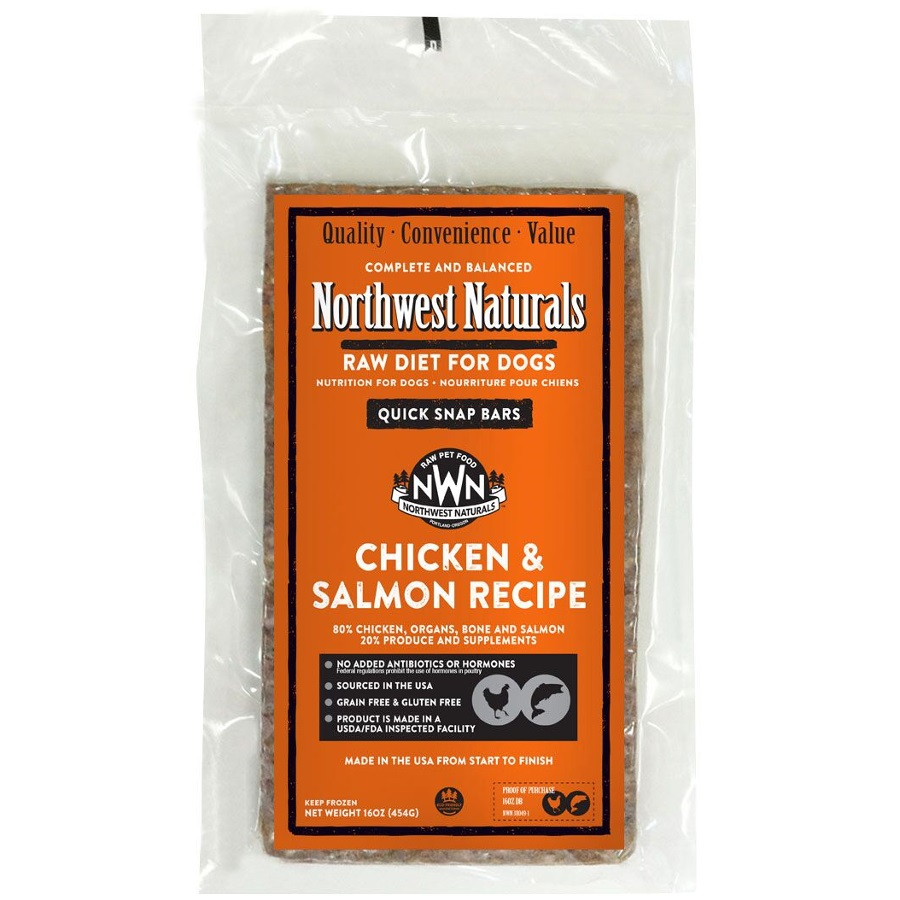 Northwest Naturals Raw Diet Grain-Free Chicken & Salmon Dinner Bar Raw Frozen Dog Food
