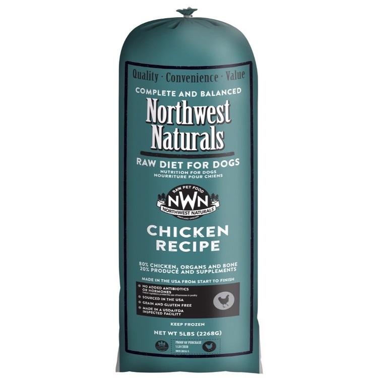 Northwest Naturals Raw Diet Grain-Free Chicken Chub Roll Raw Frozen Dog Food, 5-lb
