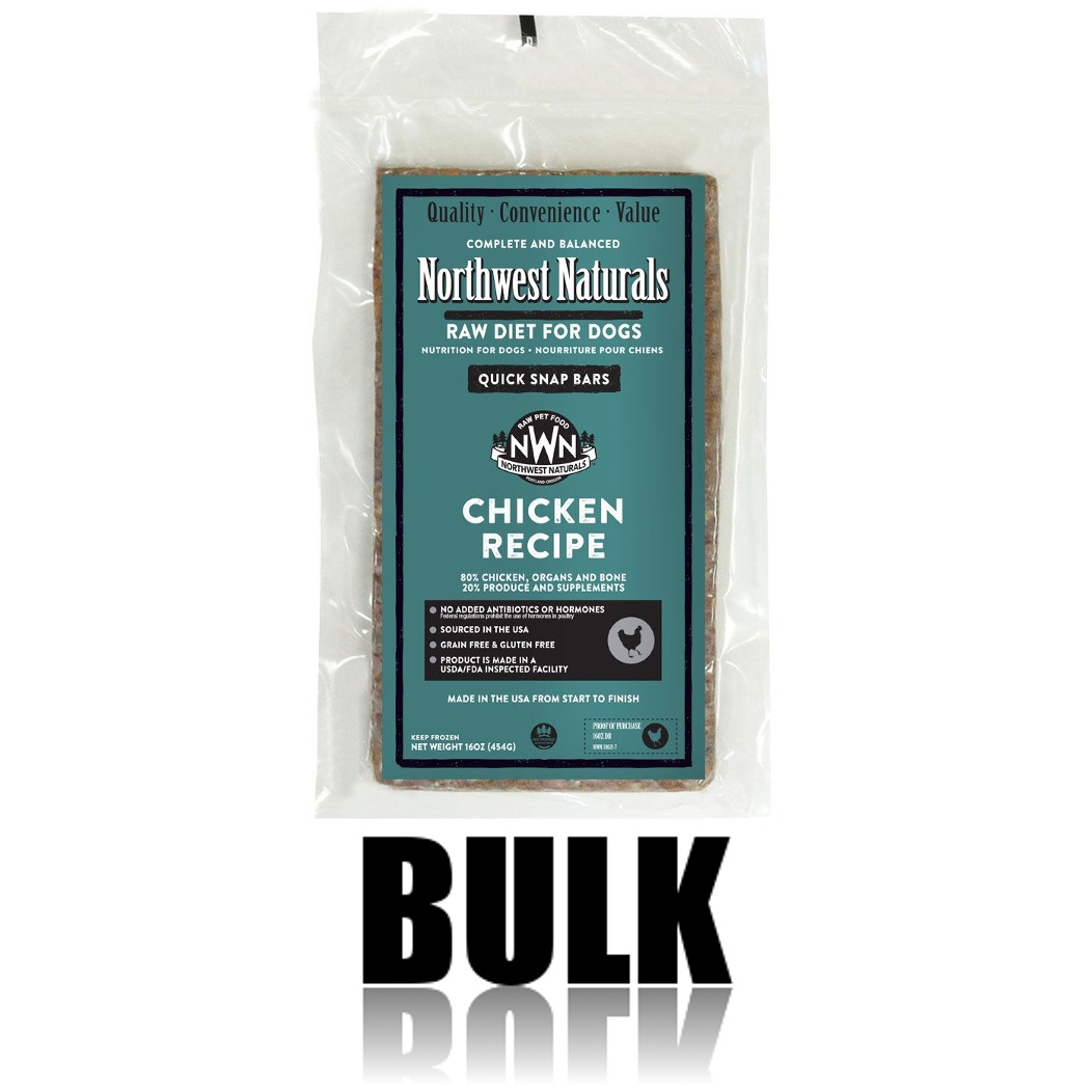 Northwest Naturals Raw Diet Grain-Free Chicken Dinner Bar Raw Frozen Dog Food, BULK 25-lb