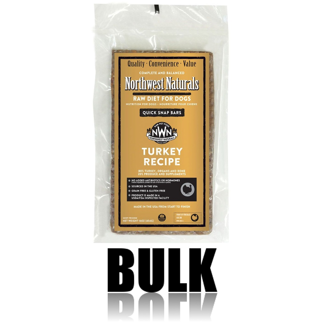 Northwest Naturals Raw Diet Grain-Free Turkey Dinner Bar Raw Frozen Dog Food BULK 25lbs