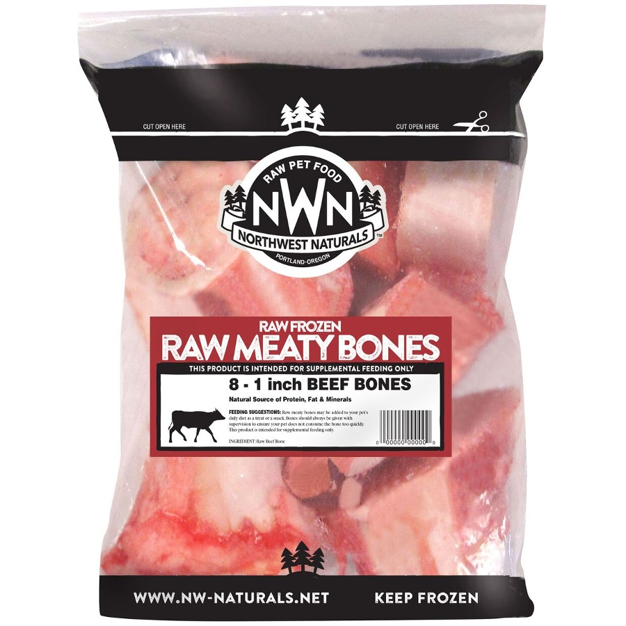 "Northwest Naturals 'Raw Meaty Bones' 1"" Beef Bone Raw Frozen Dog Treats"