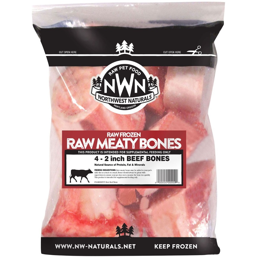"Northwest Naturals 'Raw Meaty Bones' 2"" Beef Bone Raw Frozen Dog Treats, 4-pk"