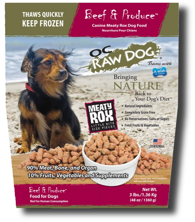 OC Raw Dog Beef & Produce Meaty Rox Raw Frozen Dog Food, 3-lb