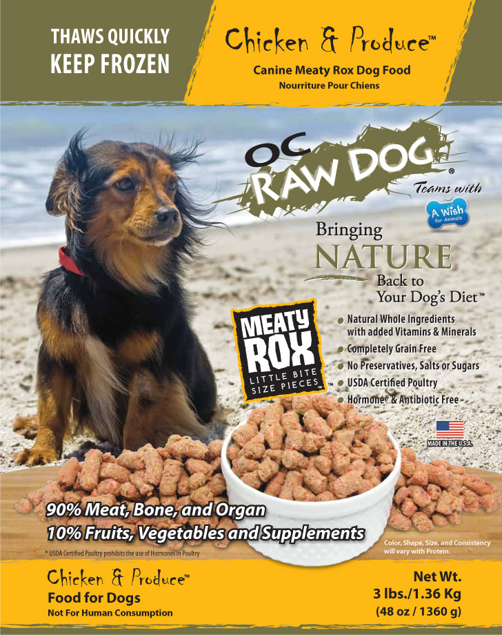 OC Raw Dog Chicken & Produce Meaty Rox Raw Frozen Dog Food, 3-lb