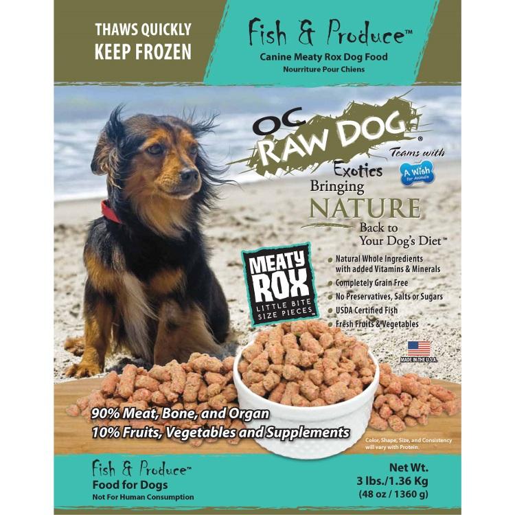 OC Raw Dog Fish & Produce Meaty Rox Raw Frozen Dog Food, 3-lb
