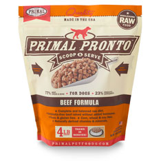 Primal Pronto Raw Beef Formula Raw Frozen Dog Food, 4-lb