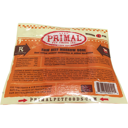Primal Raw Beef Marrow Bone Raw Frozen Dog Treat, Medium, 1-pk Size: Medium, 1-pk
