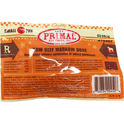 Primal Raw Beef Marrow Bone Raw Frozen Dog Treat, Small, 1-pk