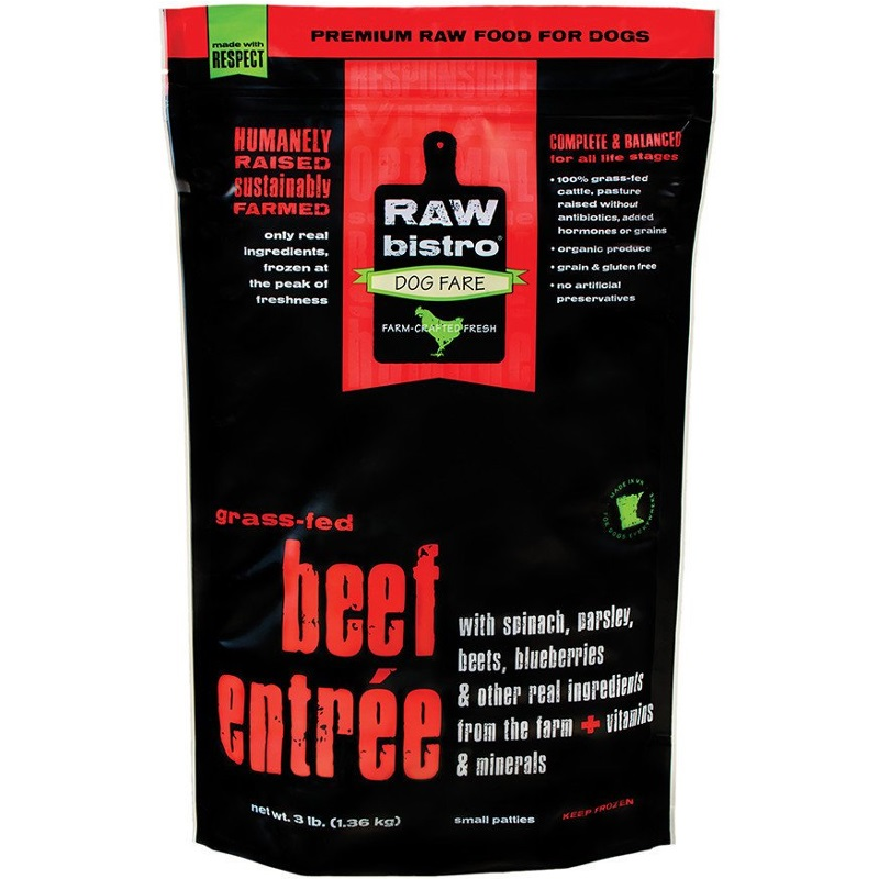 Raw Bistro Free-Range Beef Entree Grain-Free Raw Frozen Dog Food, 3-lb