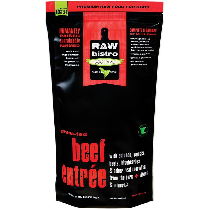 Raw Bistro Free-Range Beef Entree Grain-Free Raw Frozen Dog Food, 6-lb