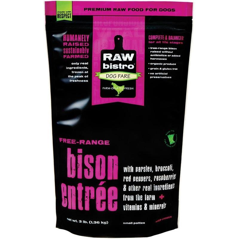Raw Bistro Free-Range Bison Entree Grain-Free Raw Frozen Dog Food, 3-lb