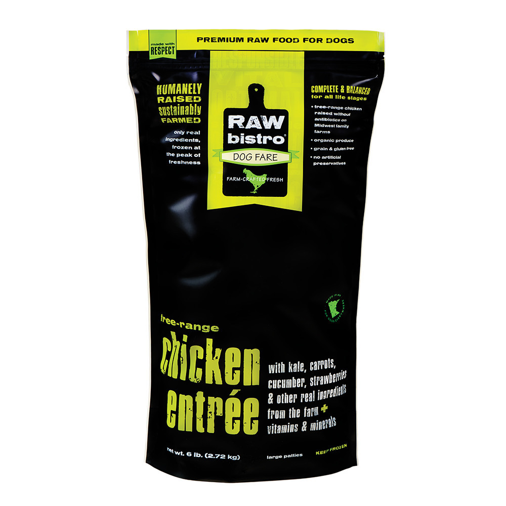 Raw Bistro Free-Range Chicken Entree Grain-Free Raw Frozen Dog Food, 3-lb