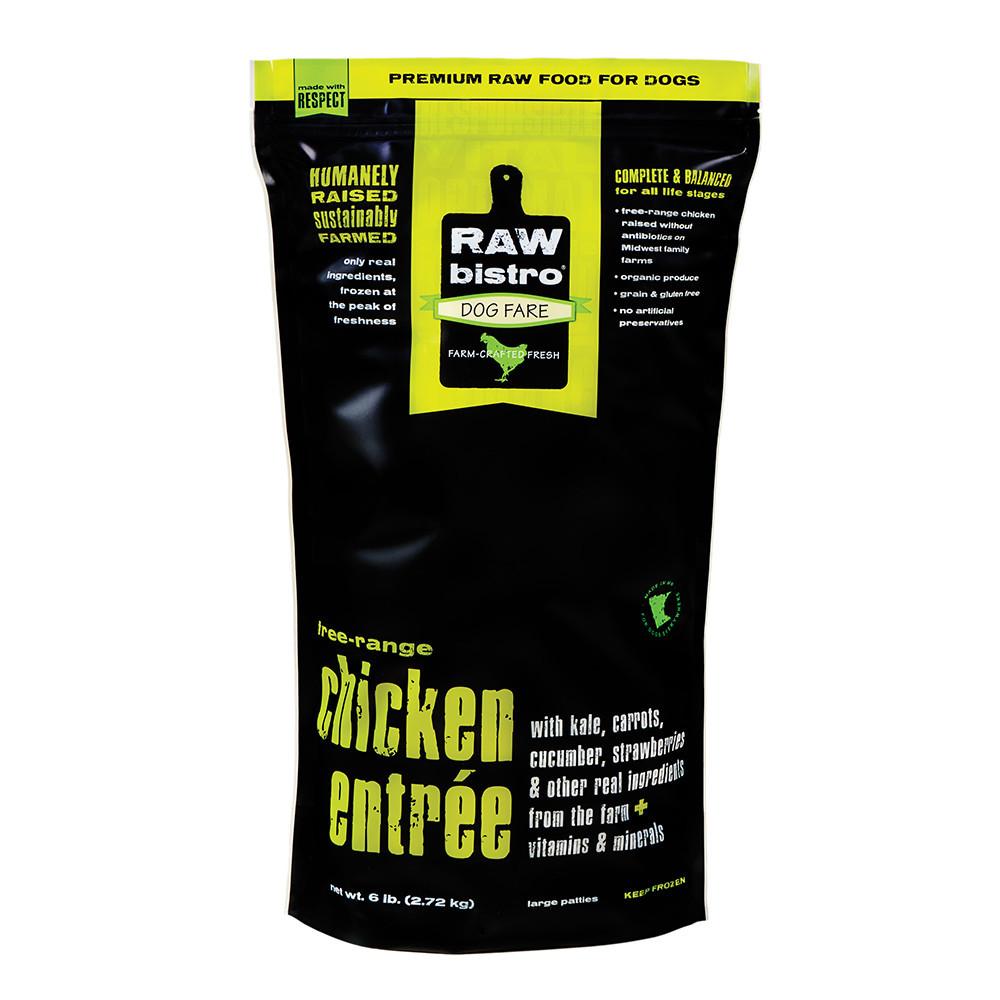 Raw Bistro Free-Range Chicken Entree Grain-Free Raw Frozen Dog Food, 6-lb