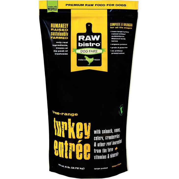 Raw Bistro Free-Range Turkey Entree Grain-Free Raw Frozen Dog Food