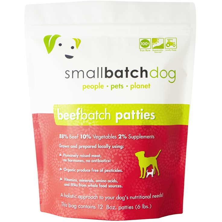 Small Batch Dog Beef Batch 8-oz Patties Raw Frozen Dog Food, 6-lb