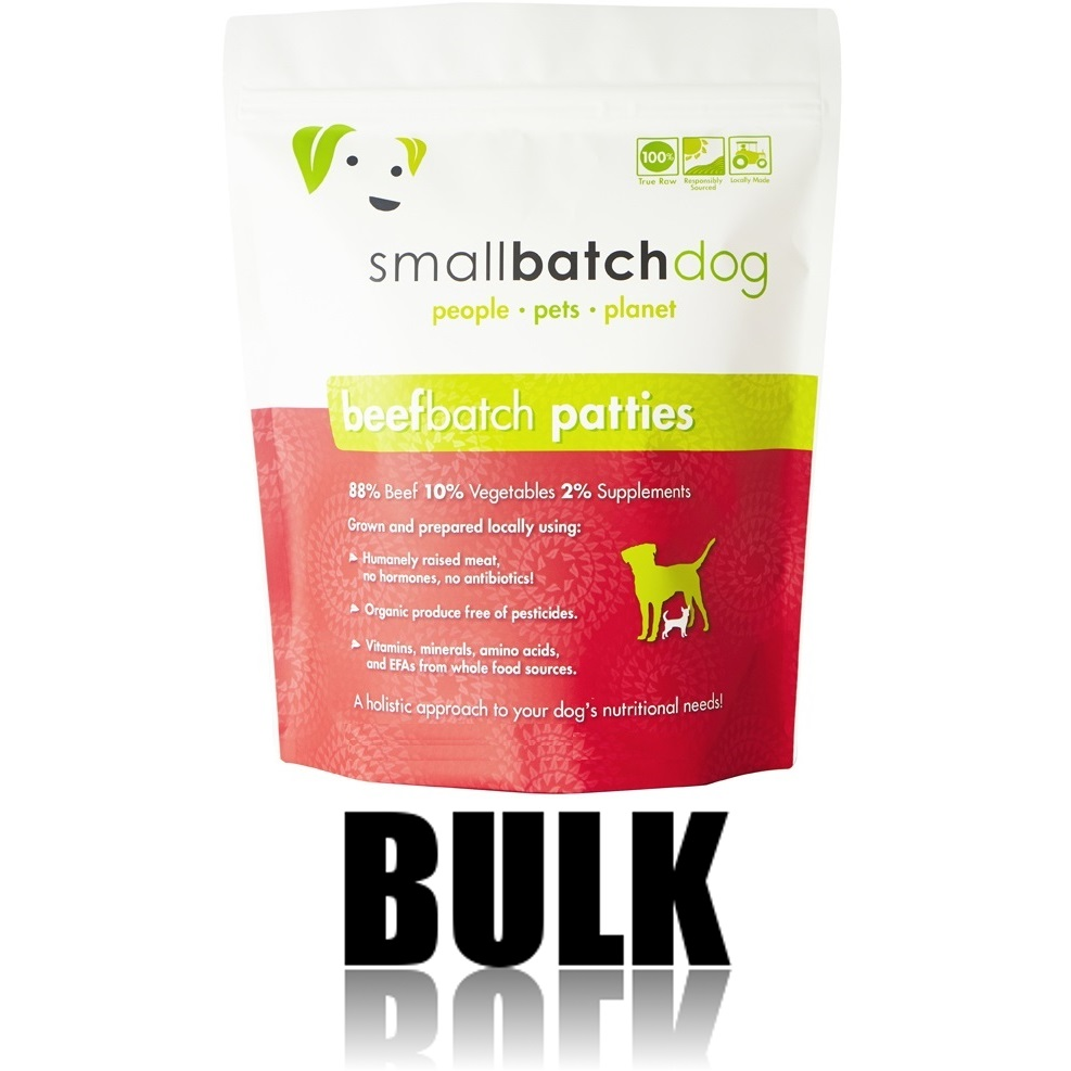 Small Batch Dog Beef Batch 8-oz Patties Raw Frozen Dog Food, BULK 18-lb