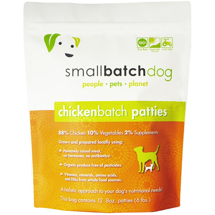 Small Batch Dog Chicken Batch 8-oz Patties Raw Frozen Dog Food, 6-lb
