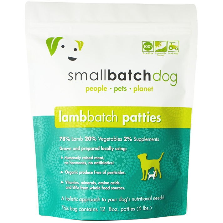 Small Batch Dog Lamb Batch 8-oz Patties Raw Frozen Dog Food, 6-lb