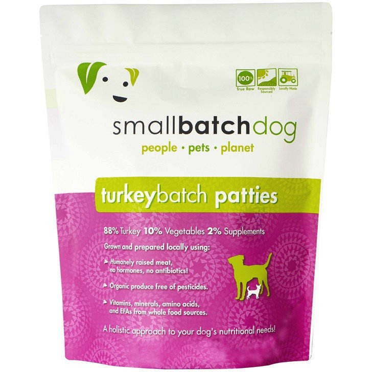 Small Batch Dog Turkey Batch 8-oz Patties Raw Frozen Dog Food, 6-lb