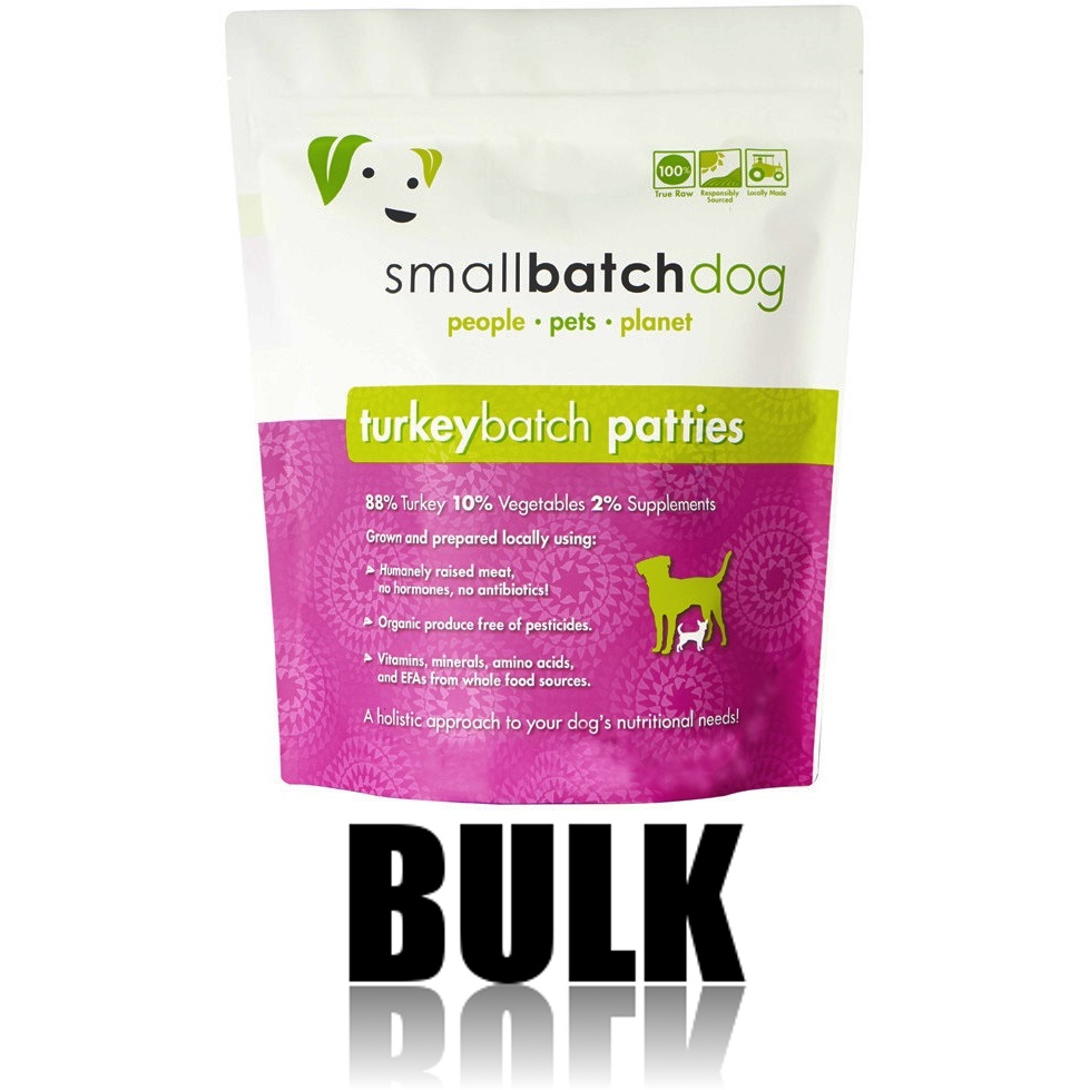 Small Batch Dog Turkey Batch 8-oz Patties Raw Frozen Dog Food, BULK 18-lb