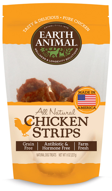 Earth Animal Plain USA Chicken Strip Treats Grain-Free Dog Treats, 8-oz