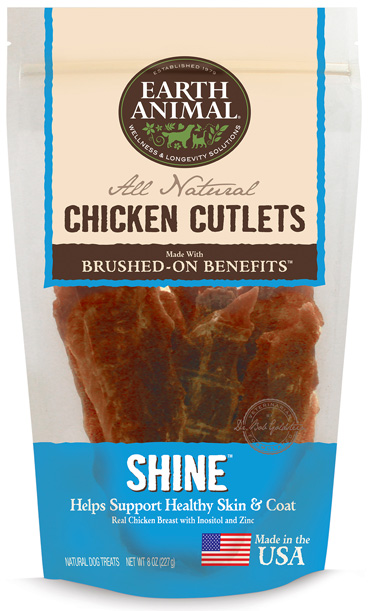 Earth Animal Shine Chicken Cutlet Treats Grain-Free Dog Treats, 8-oz