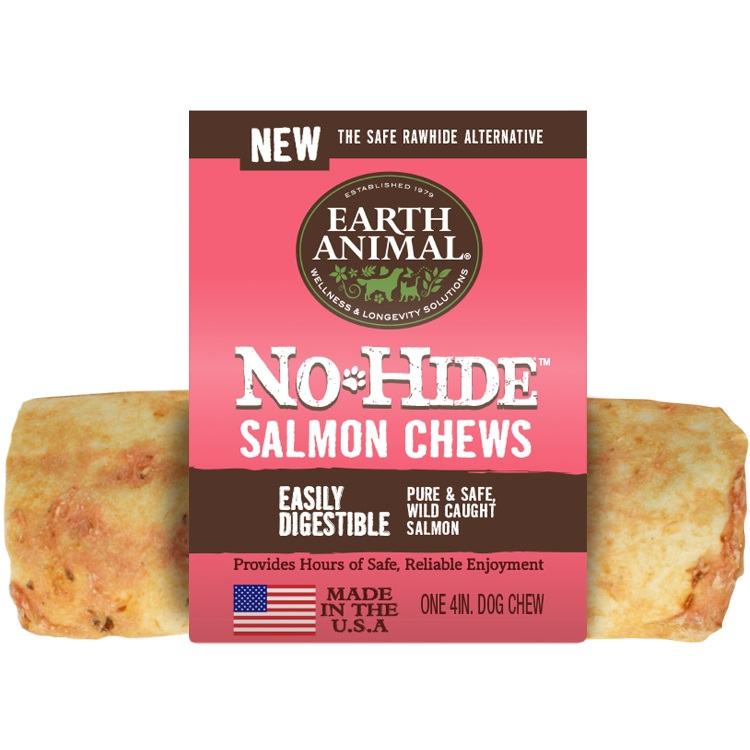 Earth Animal No-Hide Salmon Chew Dog Treat, 4-in