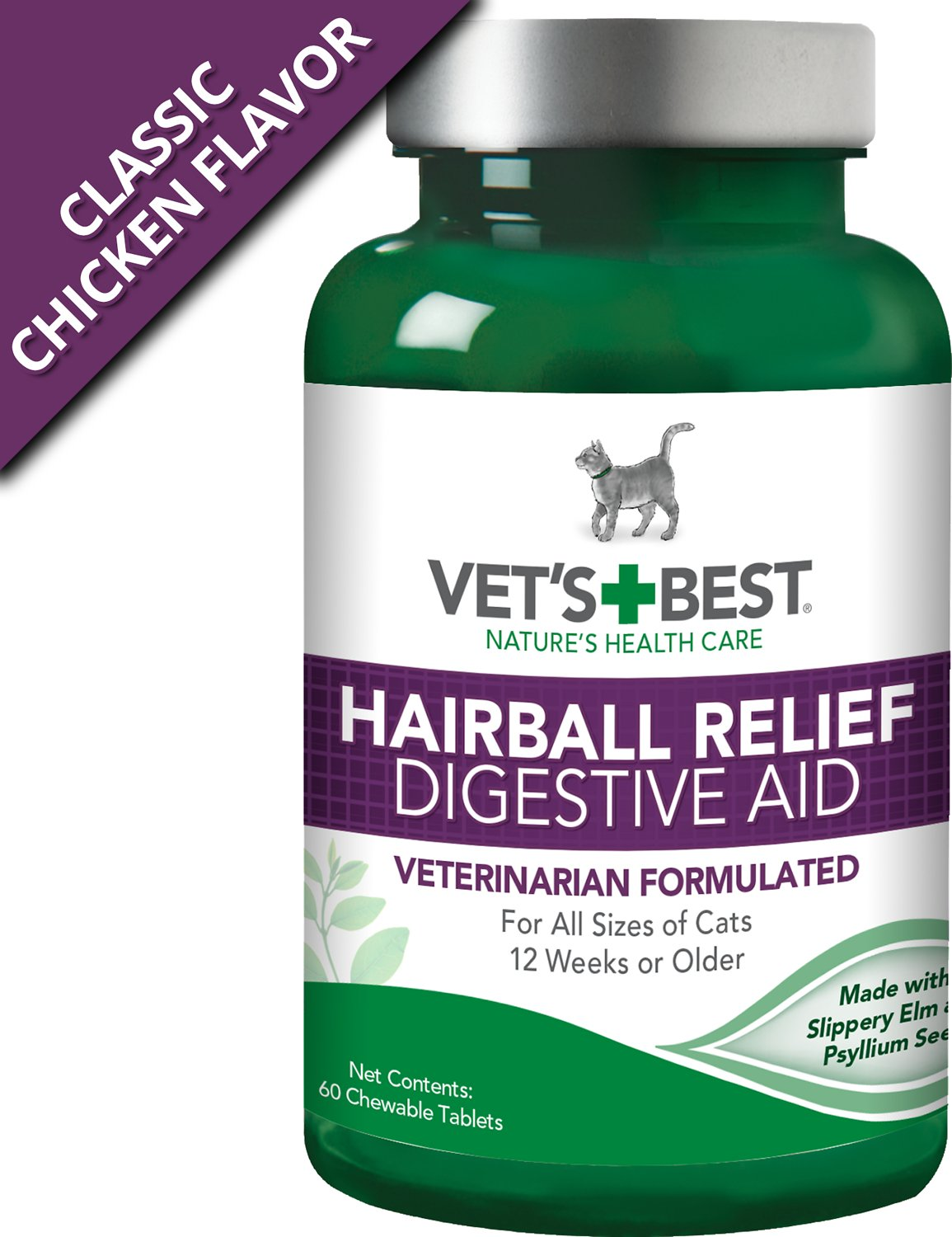 Vet's Best Hairball Relief Digestive Aid Cat Supplement, 60 count