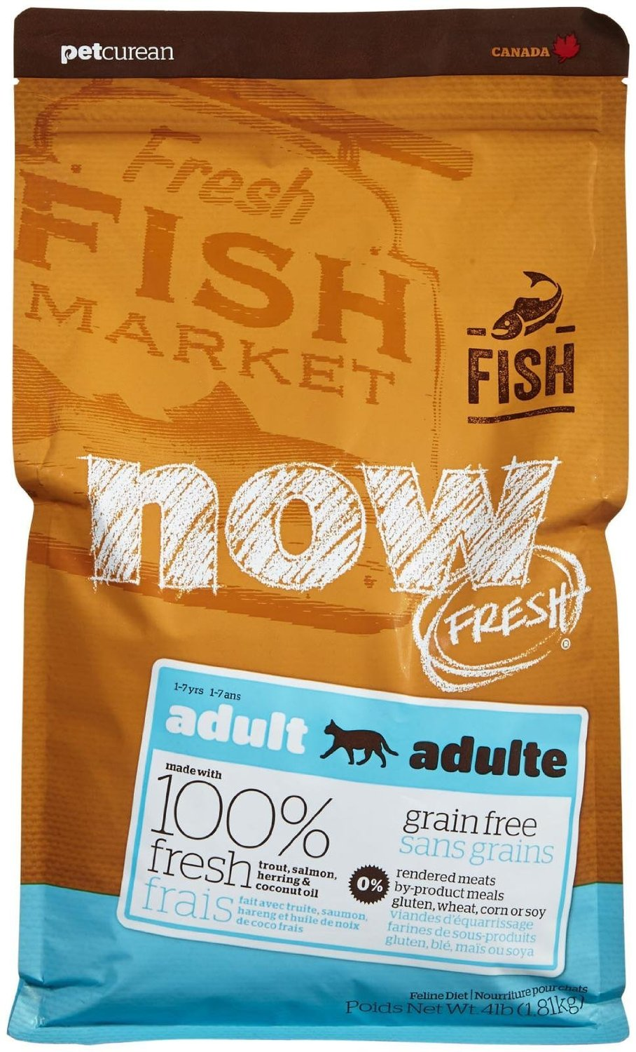 Petcurean Cat Now Fresh Grain-Free Adult Fish Recipe Dry Cat Food, 4lbs