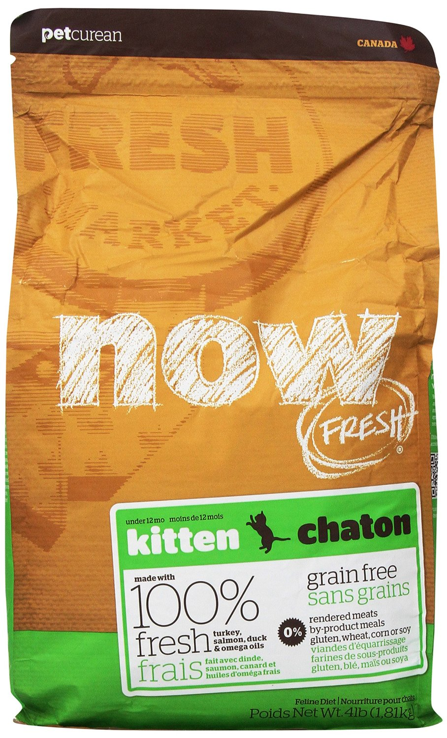 Petcurean Cat Now Fresh Grain-Free Kitten Recipe Dry Cat Food, 4lbs