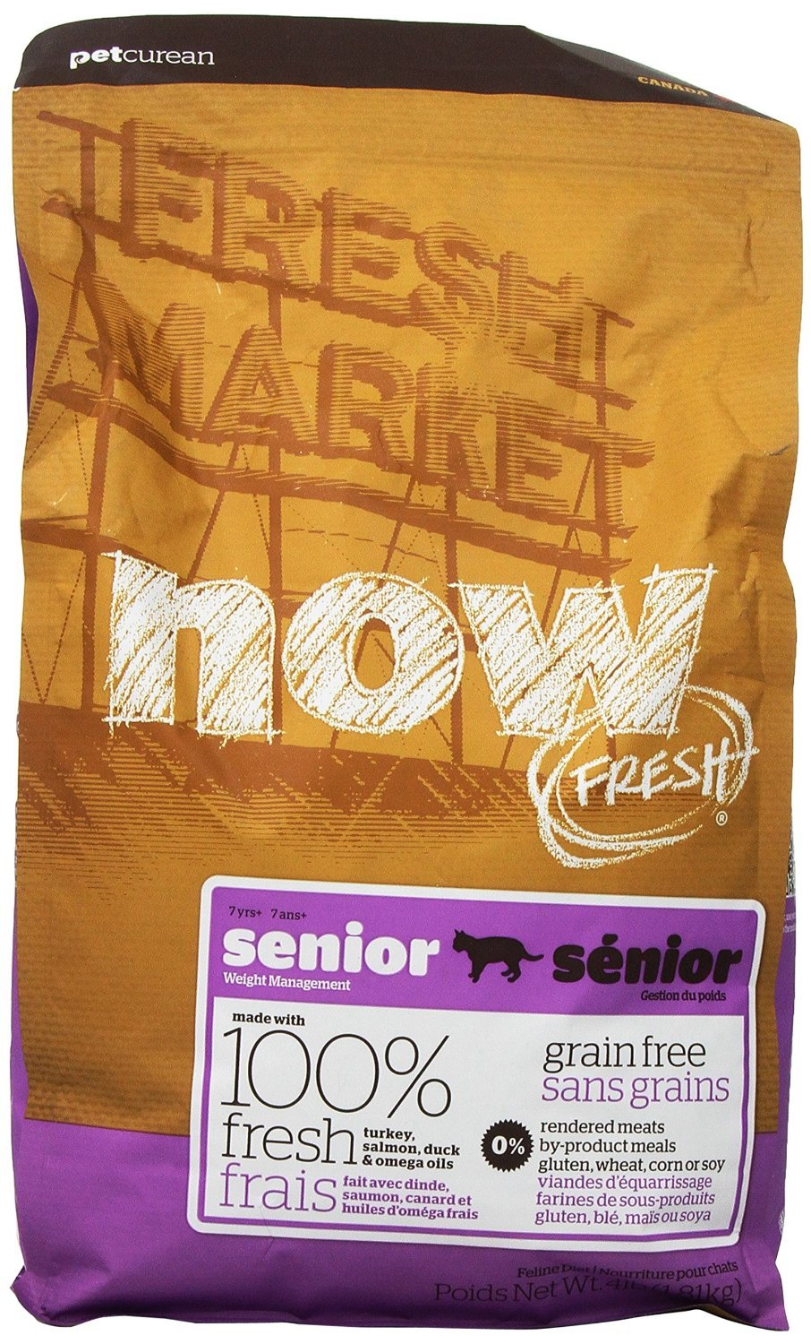 Petcurean Cat Now Fresh Grain-Free Senior Weight Management Recipe Dry Cat Food