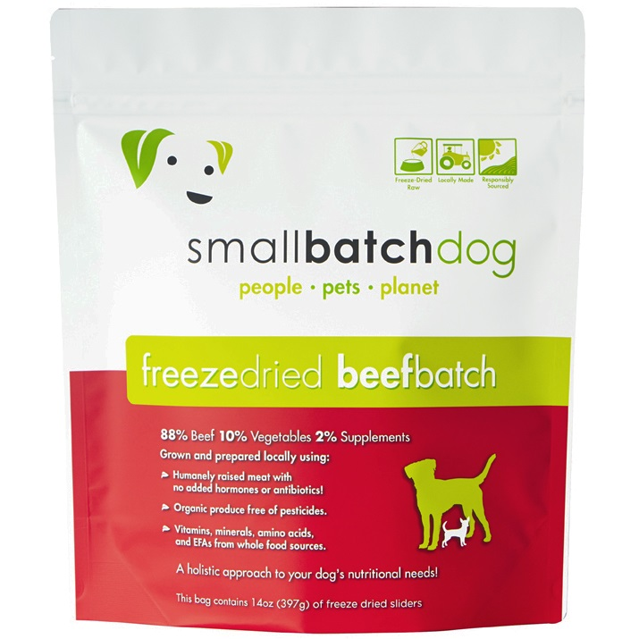 Small Batch Dog Beef Batch Sliders Freeze-Dried Dog Food, 14-oz