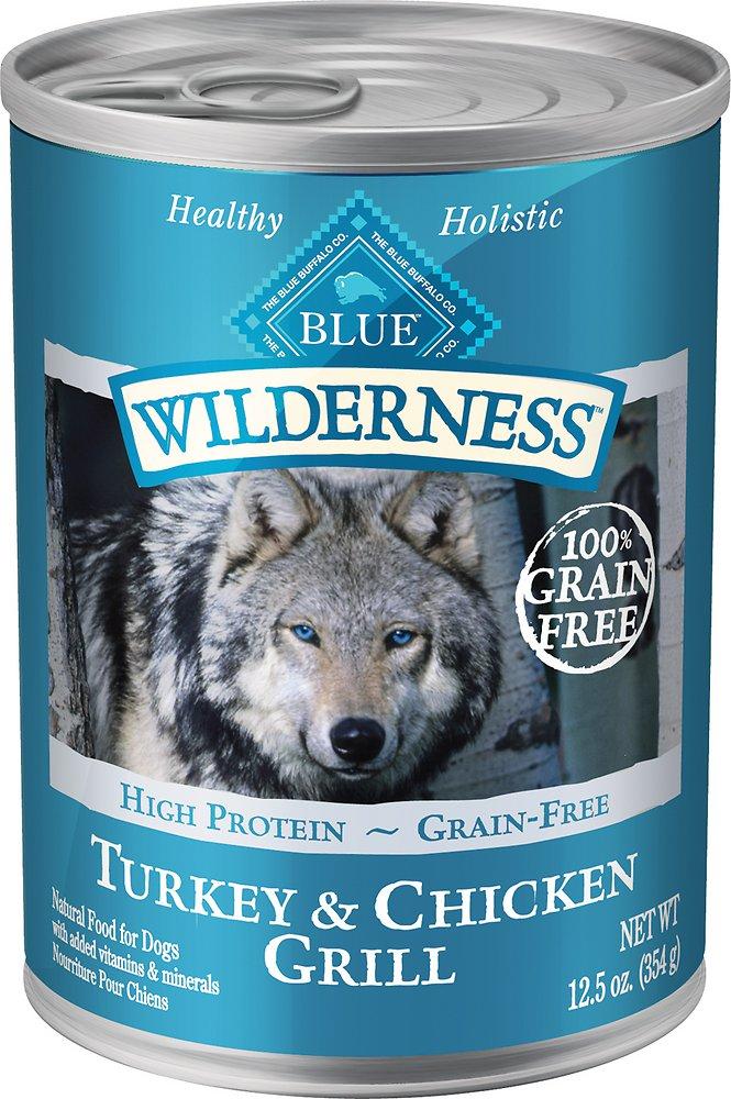Blue Buffalo Wilderness Turkey & Chicken Grill Grain-Free Canned Dog Food, 12.5-oz, case of 12