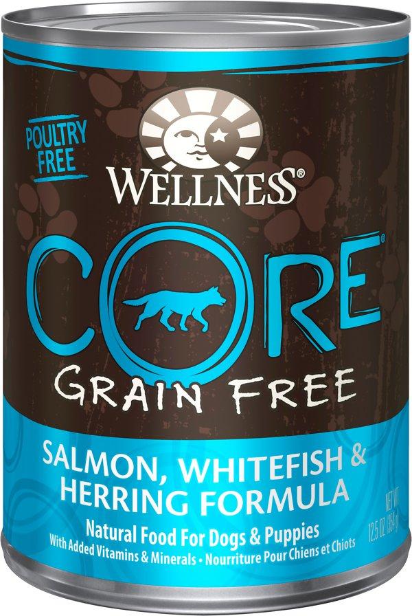 Wellness CORE Grain-Free Whitefish, Salmon & Herring Formula Canned Dog Food, 12.5-oz, case of 12