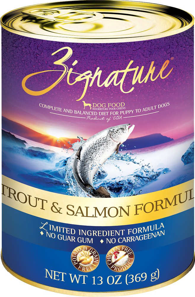 Zignature Trout & Salmon Limited Ingredient Formula Grain-Free Canned Dog Food, 13-oz, case of 12