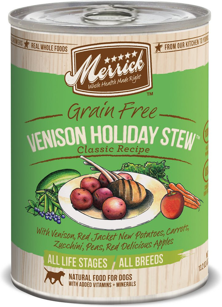 Merrick Grain-Free Venison Holiday Stew Canned Dog Food, 12.7-oz