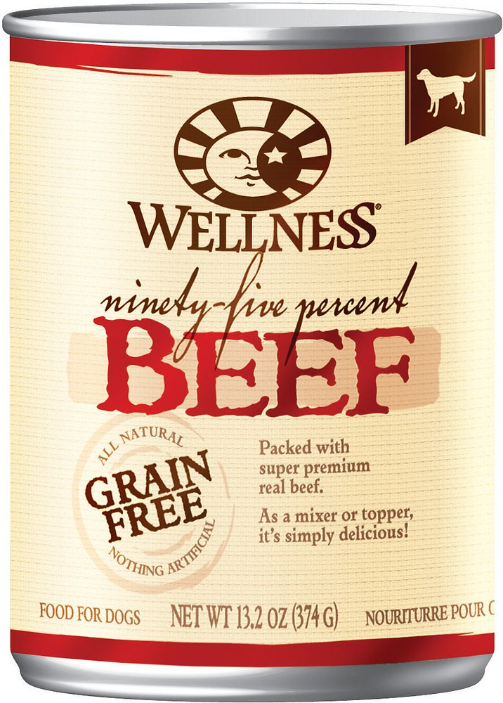Wellness 95% Beef Grain-Free Canned Dog Food, 13.2-oz, case of 12