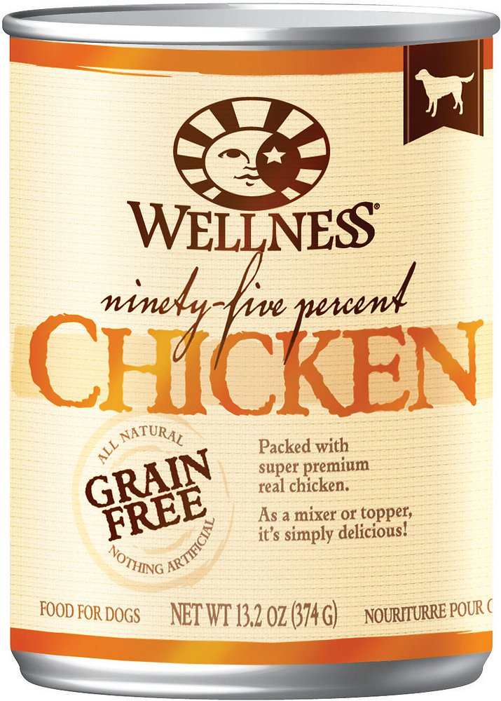 Wellness 95% Chicken Grain-Free Canned Dog Food, 13.2-oz