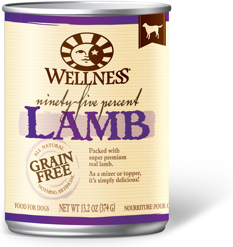 Wellness 95% Lamb Grain-Free Canned Dog Food, 13.2-oz, case of 12