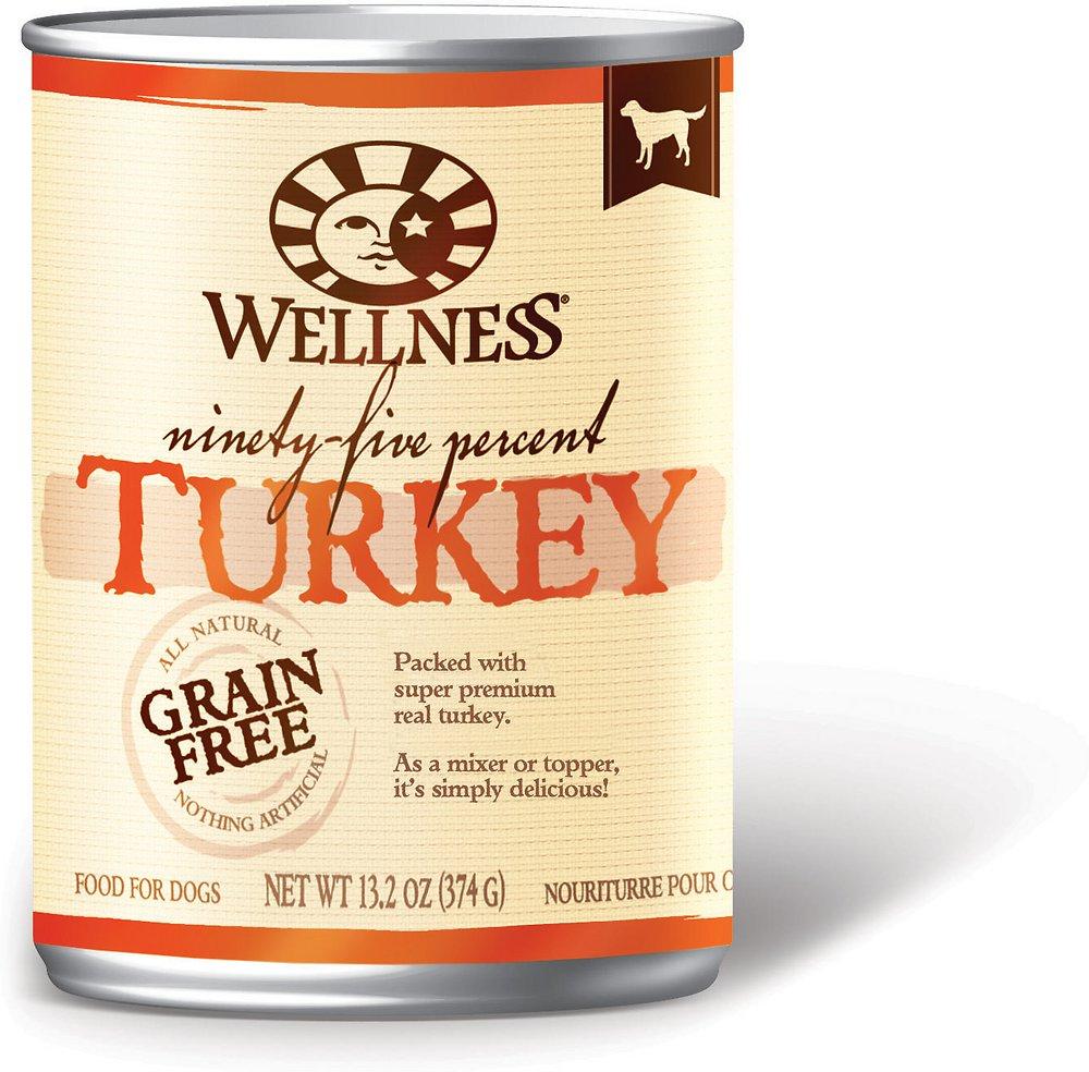Wellness 95% Turkey Grain-Free Canned Dog Food, 13.2-oz, case of 12